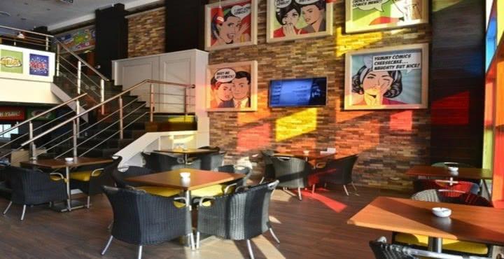 تصميم comics colored indoor /small cafe